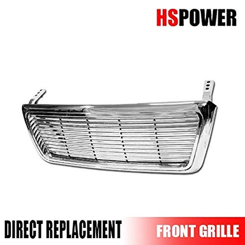 HS Power Chrome Horizontal Billet Front Hood Bumper Grill Grille Cover 2004-2008 for Ford F150 Pickup Truck