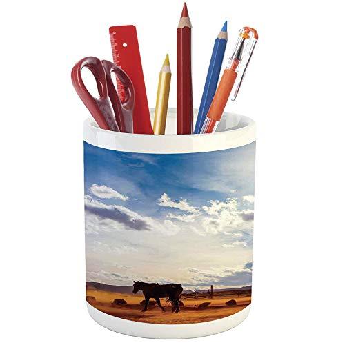Pencil Pen Holder,Western Decor,Printed Ceramic Pencil Pen Holder