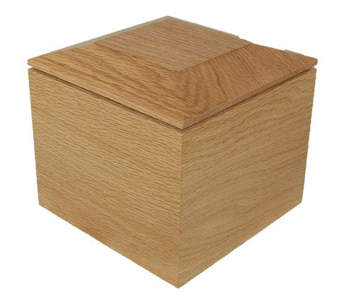 Solid Oak Pet Urn - Pyramid Top Series - 80 Cubic Inch Capacity