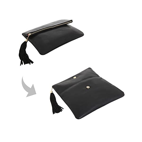 MG Collection Foldover Clutch Purse/Fashion Evening Handbag with Tassel