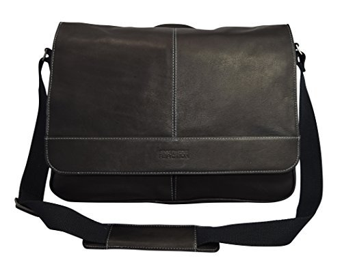 Kenneth Cole Reaction The ''Risky Business'' Colombian Leather Messenger Bag/Briefcase Black by Kenneth Cole REACTION
