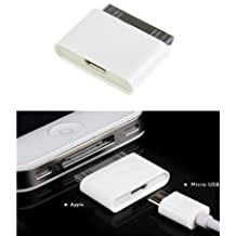 Micro USB to 30 pin Female/Male Charger Adapter for Apple iPhone 4S/iPad /iPod (WHITE, 1)