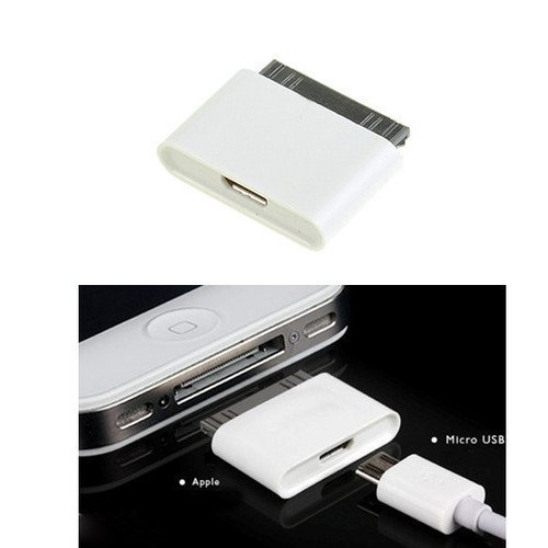 Ipod Adapter (Micro USB to 30 pin Female/Male Charger Adapter for Apple iPhone 4S/iPad /iPod (WHITE, 1))
