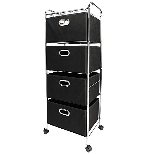 Price comparison product image Caliybrid Narrow Vertical Dresser Storage Tower Organization Drawers Shelf,  Four-Tier Non-Woven Fabric Drawer Black Carbon Steel Stoving Varnish Pipes Storage Cart with Wheels- Lightweight