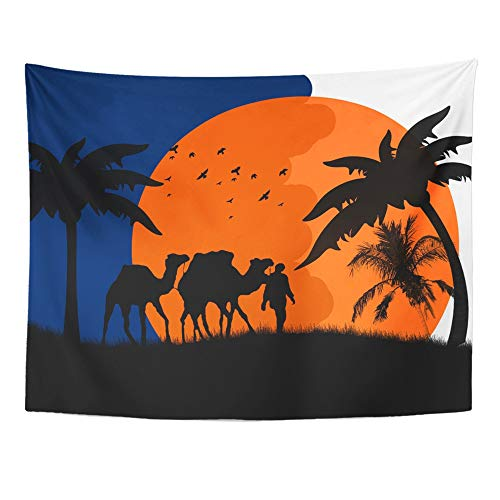 Emvency 60''x80'' Indian Tapestry Mandala Hippie Wall hangings Blue Night Sunset in The Sahara Desert with Camels and Palms Orange Arabian Egypt Home Decor Tapestries for Bedroom by Emvency