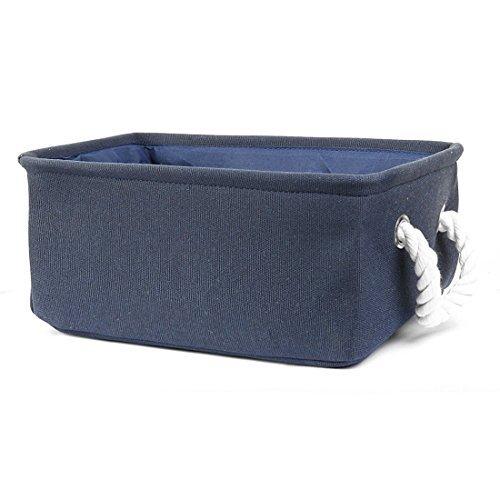 eDealMax Tessuto cestino di immagazzinaggio, Portabiancheria, pieghevole Organizzatore Camera Bin w raddoppiano le maniglie per l'ufficio, ripostiglio, cucina giocattolo Abbigliamento (blu Scuro, S)