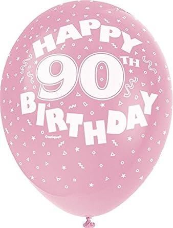 6 X 90th Globos De Cumpleaños Negro Rosa Lila Fiesta Decoraciones edad 90 Globos