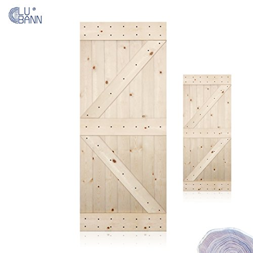 Pine Doors (LUBANN 28 / 30 / 36 / 38 / 42 in. x 84 in. Unfinished British Brace Knotty Pine Barn Door . Country Style . Made in U.S. (British Brace 36 in.))