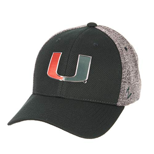 - Zephyr NCAA Miami Hurricanes Mens Insignia Platinum Logo Hat, Team Color/Heather Gray, Medium/Large