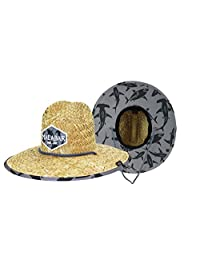 KC Republic Kids Boys Youth Sun Hat, Straw Hat, Elastic Band Stretches to Fits Ages 3-13, Sharks with Fabric Print, UPF 50+