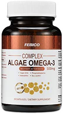 FEBICO- Complex Algae Oil DHA, Contains Astaxanthin, Phosphatidylserine, and Non-GMO Soy Lecithin -30 Capsules - 100% Vegan Source of Omega-3 - Prenatal Formula - No Fishy Aftertaste