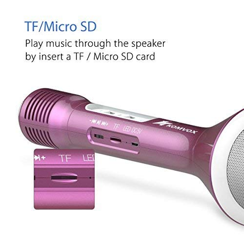 Kids Microphone Karaoke Machine, Wireless Microphone Toy Bluetooth Speaker Kids Gift for Iphone and Android Phones - Rose Gold by KOMVOX