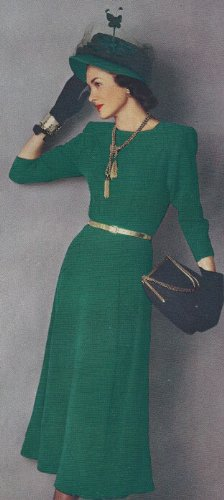 Vintage Knitting PATTERN to make - Designer Knitted One Piece Classic Dress 1940s. NOT a finished item. This is a pattern and/or instructions to make the item ()