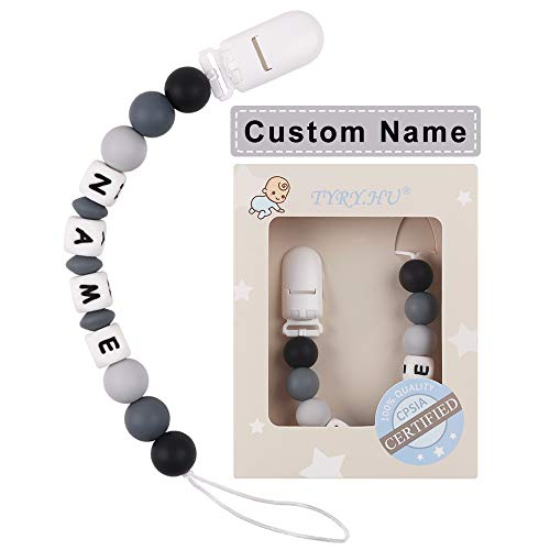 Pacifier Clip Personalized Name TYRY.HU Baby Boys Binky Holder Soothie Paci Clip Silicone Bead Teething Relief Teether Toy Handmade Birthday Shower Gift (Black)