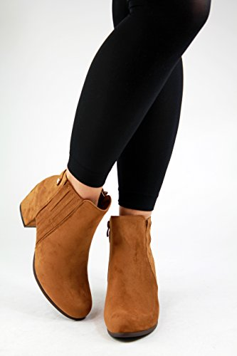 New Womens Ladies Ankle Boots Mid Block Heel Zip Comfy Casual Shoes Camel Yi0t89Ob