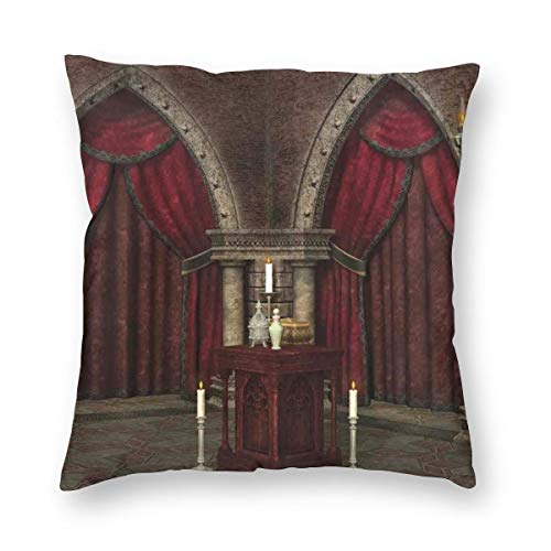K0k2to Gothic Throw Pillow Cushion Cover,Mysterious Dark Room in Castle Ancient Pillars Candles Spiritual Atmosphere Pattern,Decorative Square Accent Pillow Case