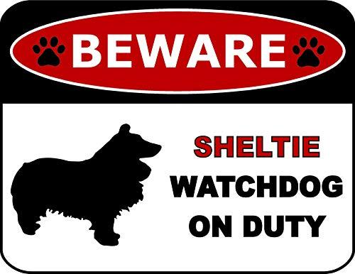 Top Shelf Novelties Beware Sheltie Watchdog On Duty (Silhouette) Laminated Dog Sign (Includes Bonus I Love My Dog Decal) - Sheltie Watch