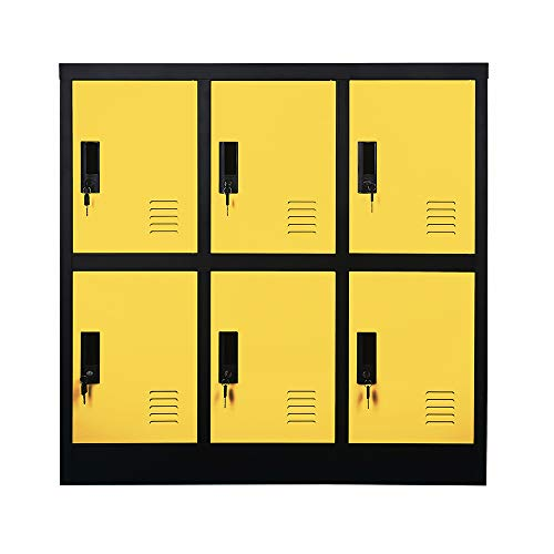 Changing Room Cloth and Shoe Bag Storage Metal Cabinet Locker with Yellow Color (W6D-YE)