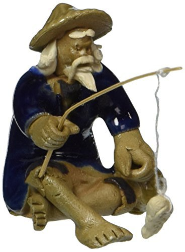 Bonsai Boys Ceramic Figurine (Bonsai Boy's Ceramic Figurine - Mudman Fisherman 1 25x1 25x1 75 by JM BAMBOO)