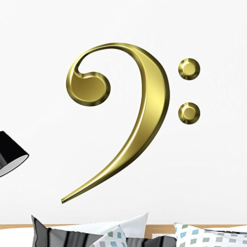 Wallmonkeys Golden Bass Clef Wall Decal Peel and Stick Graphic (24 in H x 24 in W) WM306976