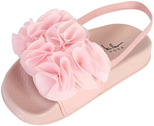 Nicole Miller New York Girls Flower Slide Sandal, Light Pink, 8 M US (Light Pink Slides)