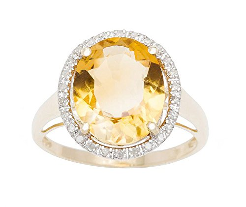 (Instagems 10k Yellow Gold 3.80ct Oval Citrine and Diamond Halo Ring)