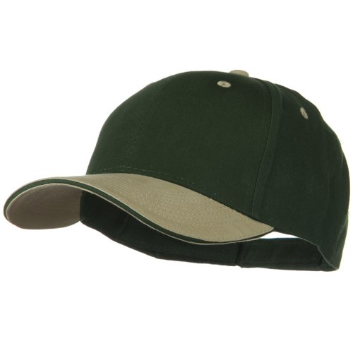 (2 Tone Brushed Twill Sandwich Cap - Khaki Dark Green OSFM)