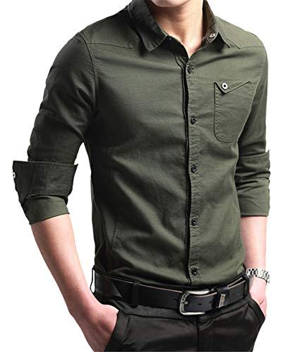 XTAPAN Men's Business Dress Shirt Oxford Button Down Casual Shirt Navy Green 2XL