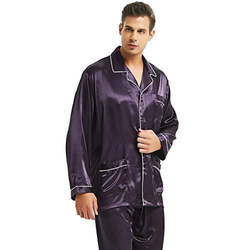(Mens Silk Satin Pajamas Set Purple M)