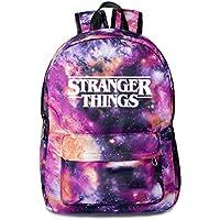 Stranger things peripheral schoolbag canvas bag star sky double shoulder bag men's and women's leisure bag (Star purple-2)