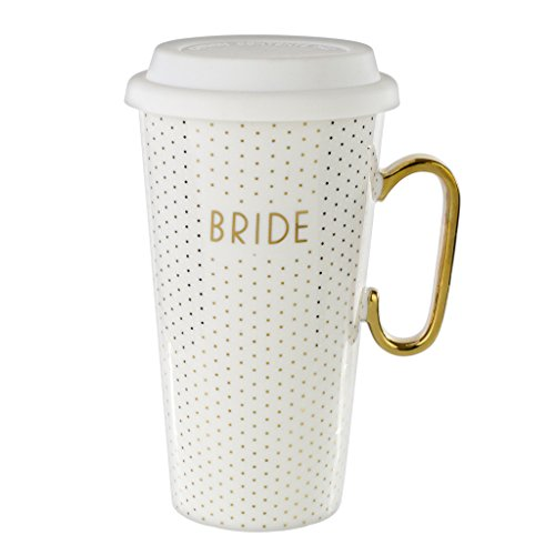 White Ceramic Travel Mug & Lid: 18 Oz Coffee Mug for Bride - White & Gold Bridal Mug with Handle