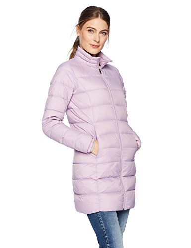 Amazon Essentials Women's Lightweight Water-Resistant Packable Down Coat, Purple, Large