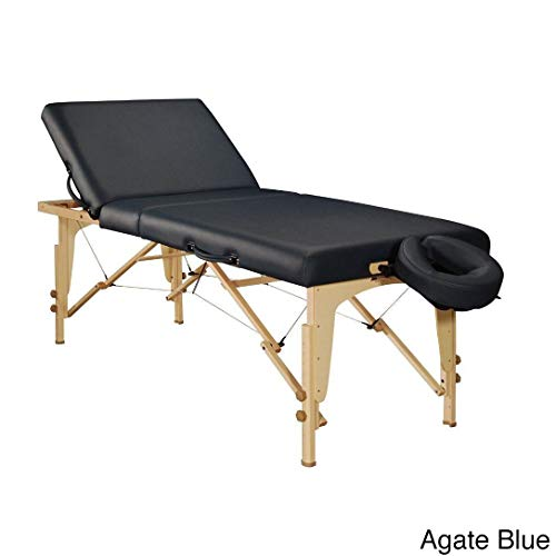 Master Massage Black/Brown Leather/Wood 30-inch Midas-Tilt Portable Massage Table Package Agate Blue