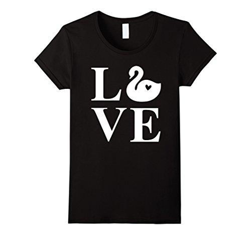 Women's Swan Shirt: Cute Love Swans Animal Gift T-Shirt X...