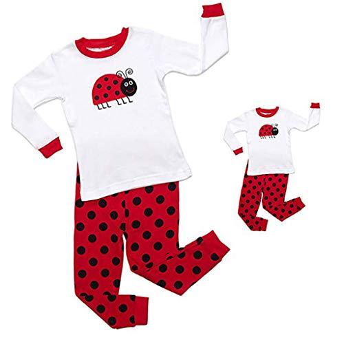 (XILALU Doll & Girls Pajamas Baby Cartoon Long Sleeve Tops Pants Family Sleepwear Matching Sets 2T-12T White)