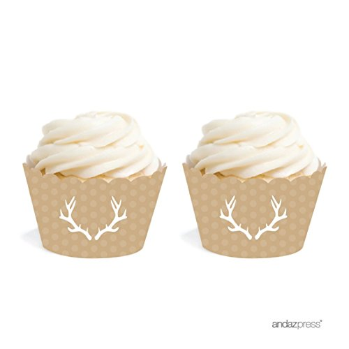 Andaz Press Birthday Cupcake Wrappers, Tan Deer Antlers, 20-Pack, Decor Decorations Wraps Cupcake Muffin Paper Holders (Deer Decorations)