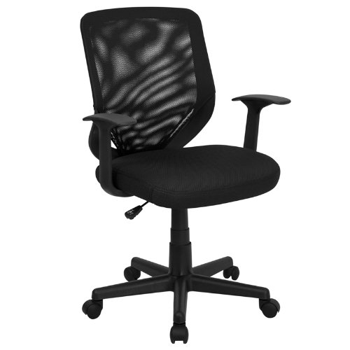 Flash Furniture Mid-Back Black Mesh Swivel Task Chair with Arms by Flash Furniture
