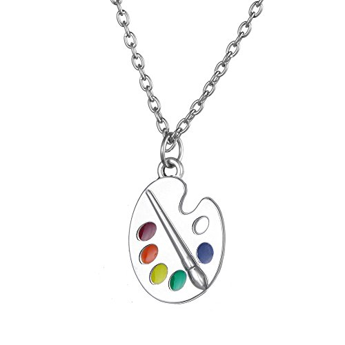 Trendy Enamel Artist Paint Palette and Brush with Thin Pendant Necklace Gifts Jewelry for Women & Girls