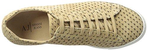 Armani Jeans Impreso de ante la zapatilla de deporte de la manera Beige