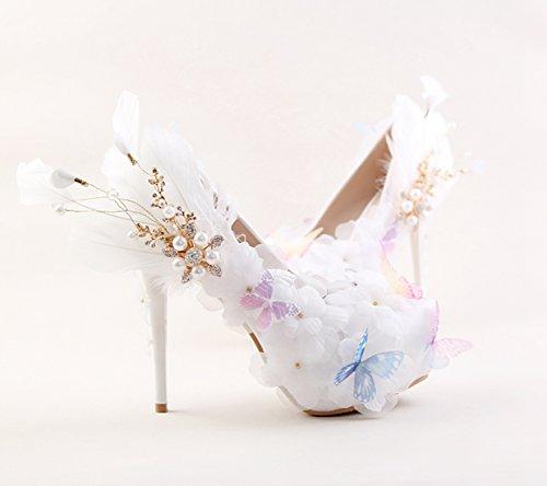 Minitoo MinitooUK-MZ8247, Escarpins Pour Femme - Blanc - White-14cm Heel, 36.5