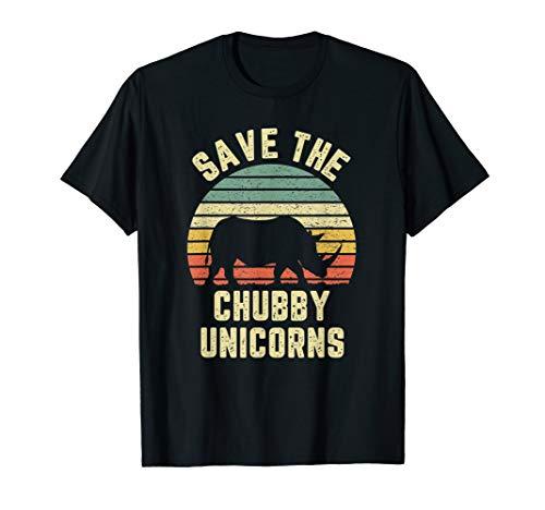 (Save The Chubby Unicorn TShirt Funny Vintage Tee Shirt Rhino)