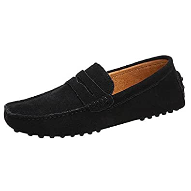 JIONS Men's Penny Loafers Moccasin Driving Shoes Slip On Flats Boat Shoes Black US 6.5/EUR 38