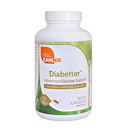 Zahler Diabetter, Advanced Glucose Support Supplement with Cinnamon, Helps Maintain Balanced Blood Sugar Levels Naturally, Certified Kosher, 180 Capsules