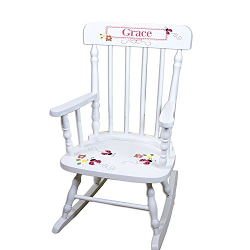 Children's Personalized White Ladybug Pink Rocking Chair by MyBambino