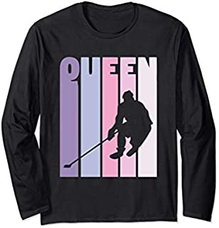 [Featured] Hockey Player Gift 'Hockey Queen' Vintage Girls Hockey Long Sleeve in ALL styles | Size S - 5XL