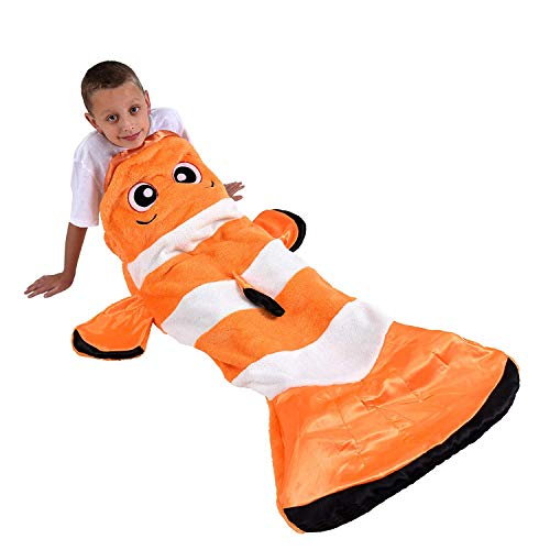 Snuggie Tails Clown Fish Comfy, Cozy, Super Soft, Warm, All Season, Wearable Blanket for Kids, As Seen on TV
