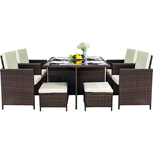 LZ LEISURE ZONE 9 Piece Patio Furniture Dining Set Outdoor Garden Wicker Rattan Dining Table Chairs Conversation Set with ()