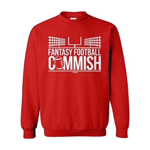 Fantasy Football Commish - Sports Gambling Unisex Crewneck Sweatshirt (Red, X-Large)