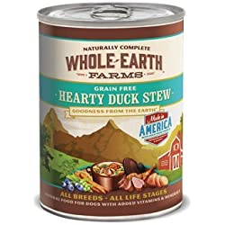 Whole Earth Farms Grain Free Hearty Duck Stew Canned Dog Food 12.7 oz. Case of 12