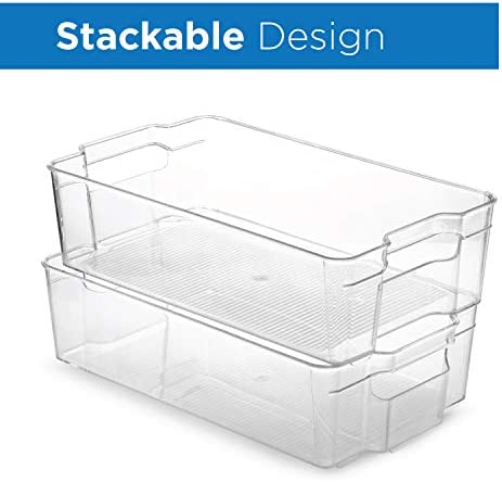 """Set Of 6 Refrigerator Organizer Bins - Stackable Fridge Organizers for Freezer, Kitchen, Countertops, Cabinets - Clear Plastic Pantry Storage Racks    Keep your refrigerator, freezer, pantry or countertops neatly organized with these fridge organizer storage bins Ideal sized to fit fruits, vegetables yogurts, canned goods, food packets, cheese, meat, also good for storing dry goods in the pantry 6-piece set includes: 2 Wide drawer 14.5"""" L x 8.5"""" W x 4"""" H. 2 Narrow drawer 14.75"""" L x 4.25"""" W x 4"""" H. 1 Egg holder with lid stores 14 eggs 14. 5"""" L 4. 5"""" W x 3"""" H. 1 Soda can holder fits 9 standard size 12oz soda cans measures 13.5"""" x 5.5"""" x 3.75"""" Made of durable high quality 100% food safe BPA Free shatter-resistant plastic Designed with practical carry handles and interior non slip texture, clean with warm soapy water. DO NOT PLACE IN DISHWASHER"""